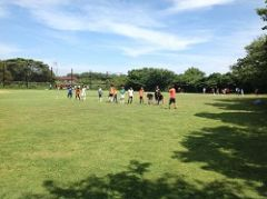 サッカーU−15の合宿中の練習風景。